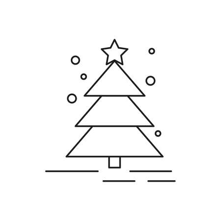 Christmas tree icon on white background. New Year illustration. Vector illustration.