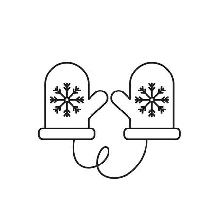 Christmas warm gloves with snowflake on white background. Vector illustration.