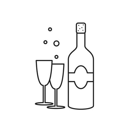 Champagne bottle and glasses on white background. Vector illustration.
