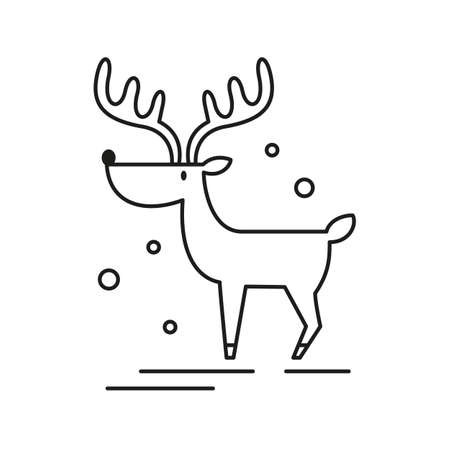 Christmas deer icon on white background. Vector illustration.