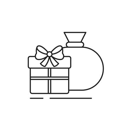Christmas gifts icon on white background. Vector illustration.