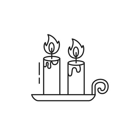 Cute candle icon on white background. Vector illustration.