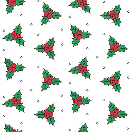 Seamless pattern with holly berries. Vector Illustration.