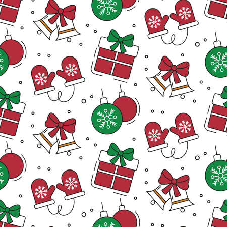 Seamless pattern with christmas icons. Vector illustration.