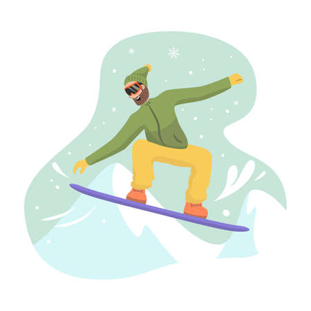 Cartoon snowboarder at ski resort. Vector illustration.