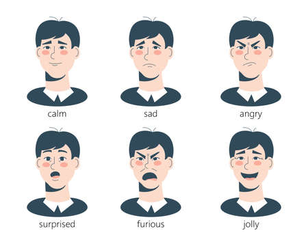 Set of male facial emotions. Vector illustration.