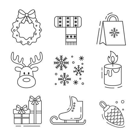 Set of flat christmas icons. Vector illustration.