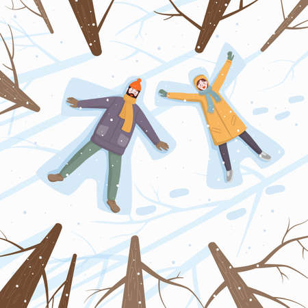 Happy couple of young people making snow angel in snow. Vector illustration. Stock Illustratie