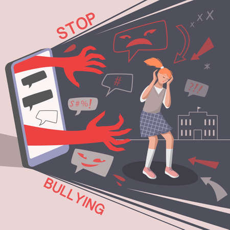 Cyber bullying in social networks. Scared teen girl and haters messages, bullying concept. Vector illustration.
