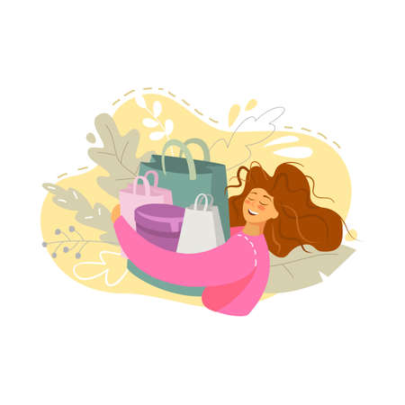 Happy young woman with shopping bags. Vector illustration.