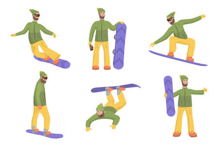 Set of snowboarders in different poses at ski resort. Vector illustration. Stock Illustratie