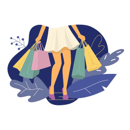 Young woman with shopping bags. Vector illustration.