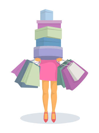 Young woman with shopping bags and boxes. Vector illustration. Stock Illustratie