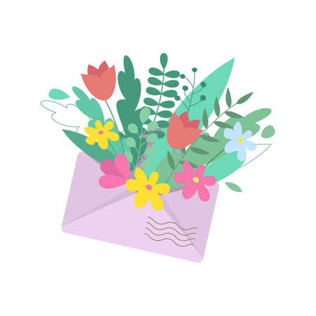 Open envelope with flowers. Vector illustration.