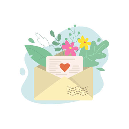 Open envelope with a letter and flowers. Vector illustration. Stock Illustratie