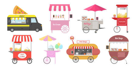Set of different street food carts. Vector illustration.