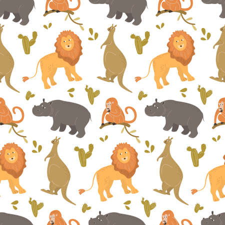 Seamless pattern with cute cartoon animals. Vector illustration.