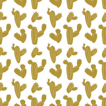 Cartoon seamless pattern with cactuses. Vector illustration.