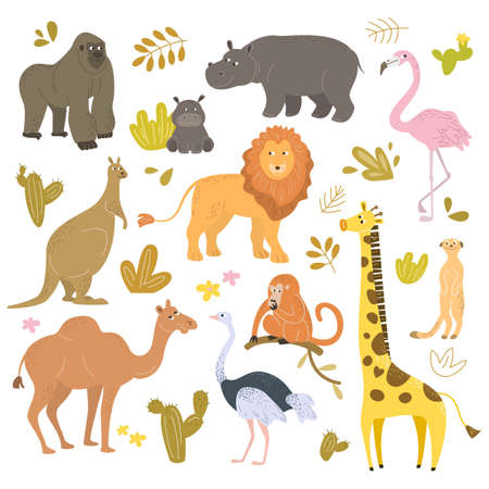 Set of cartoon cute animals from Africa. Vector illustration.
