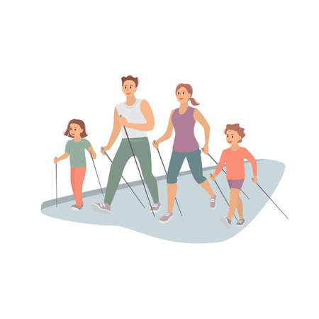Nordic walking, family healthy activity. Vector illustration.