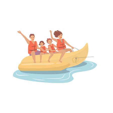 Happy family riding a banana boat, beach activities water sport. Vector illustration.