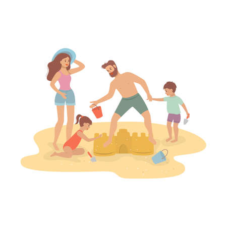 Happy family building sandcastle, beach family activity. Vector illustration.