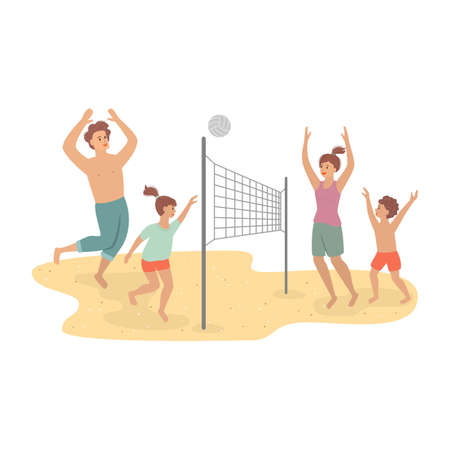 Happy family playing beach volleyball. Vector illustration.