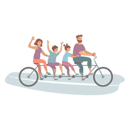 Happy family riding a tandem bicycle with four seats. Healthy Lifestyle. Vector Illustration. Stock Illustratie