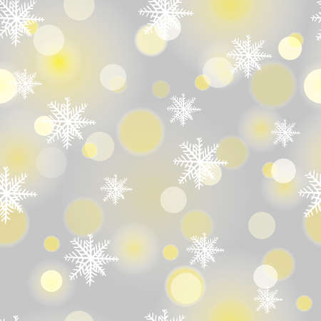 Seamless snowflakes background with boke. Winter light snowflake pattern. 向量圖像