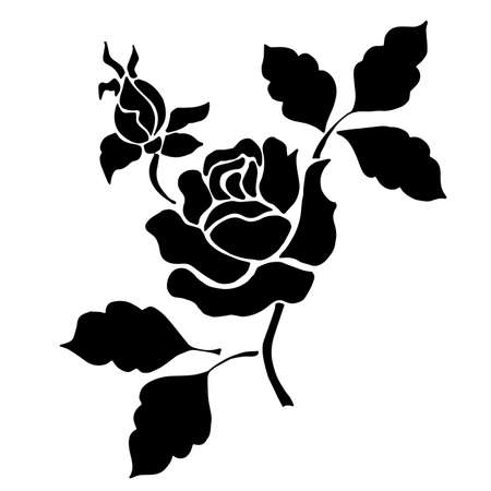Silhouette of a black rose with leaves on a white background. Tatoo black flowers Vectores