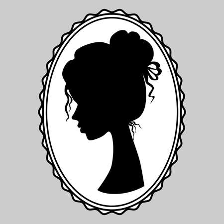 Beautiful young girl side view. Silhouette of a beautiful princess with vintage hairstyle