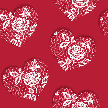Elegant seamless pattern Valentine's Day with lacy red hearts. Valentine endless ornament with beautiful hearts and rose. Ilustração