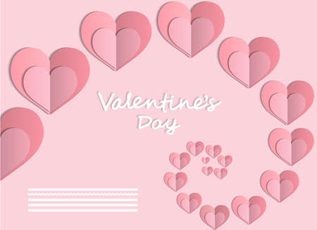 Elegant card Valentines Day with pink heart. Valentine card with beautiful heart