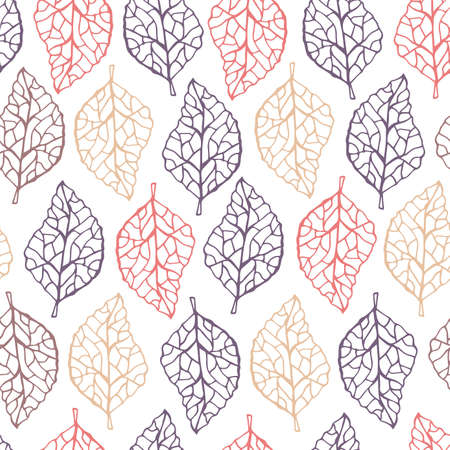 Beautiful pastel seamless pattern with colored leaves. Botanical background in line art style.