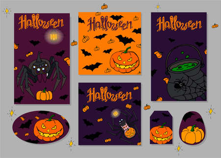 Set of flyers for Halloween. Spiders, Jack Lantern and Pumpkins. Scary beautiful Halloween holiday invitations