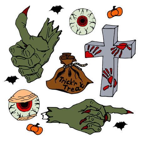Zombie hand and eyes. Trick 'r Treat. Set of Halloween objects. Isolated on white background. 向量圖像