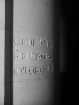 tibidabo: Latin inscription in stone column in gothic church Tibidabo, Barcelona, ??Spain