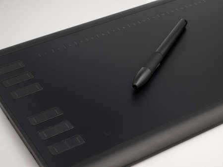 Graphic tablet with pen for illustrators and designers, on white background Stockfoto