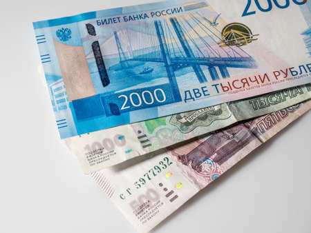 new Russian money banknotes 2000 rub and 1000 rubles, 500 rus. banknotes of Bank of Russia. Stok Fotoğraf - 105690862