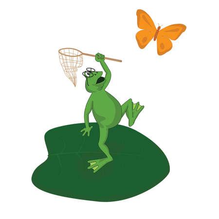 漫画カエルは虫取り網をキャッチします。  イラスト・ベクター素材