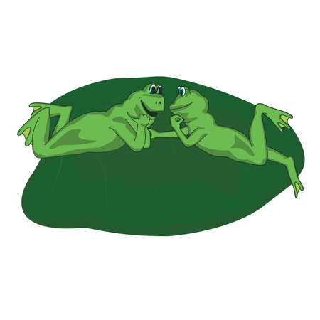mere: two frog lovers lie on the sheet