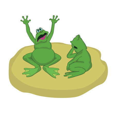 mere: two frogs talking on the islet