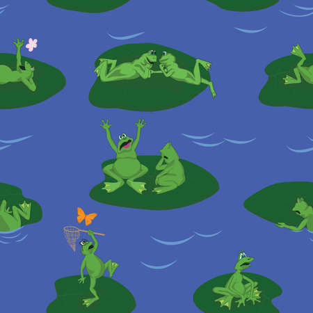 lots: lots of funny frogs on blue lake