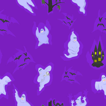 wraith: Seamless with the spirits on Halloween. With cats, bats and castles.