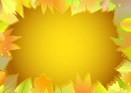 autumn motif: Greeting card is made of autumn leaves.