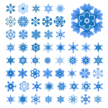 icy: Set of snowflakes for Christmas. Isolated blue.