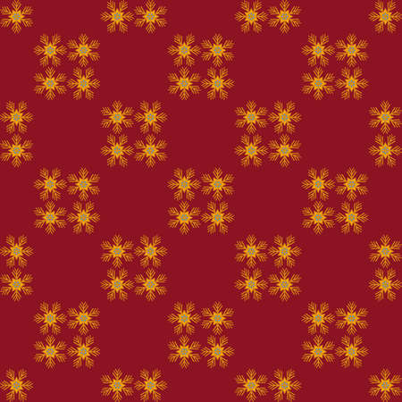 gold snowflakes: Christmas gold snowflakes. Red background seamless pattern. Packaging. Illustration