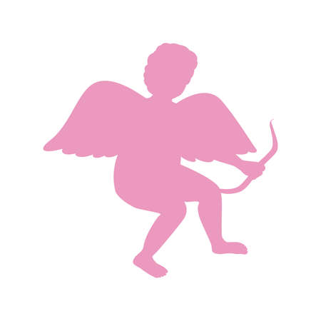 day saint valentin: Silhouette Of Cupid. Saint Valentine. The lilac color. Isolated.