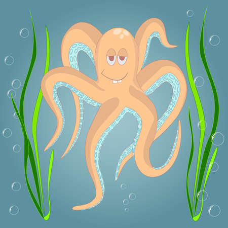 under water grass: Very Funny octopus. Marine and underwater themes. Illustration