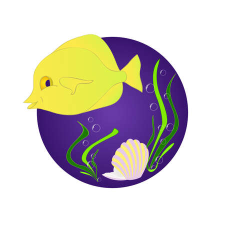 funny fish: Funny fish zebrasoma. Mermaid and pearl. Marine and underwater themes. Illustration